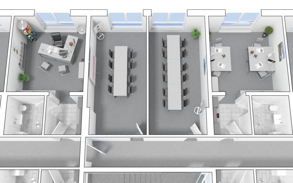 Besprechungsraum im 2. OG - Aufteilung in zwei Räume