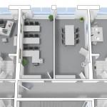 Besprechungsraum im 2. OG - Aufteilung in zwei kleinere Räume