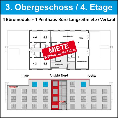 3. OG - Penthausbüros. Beste Lage! Flexible Raumteilung möglich. Mit Dachterrasse!