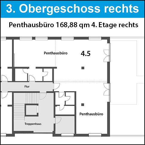 3. OG - Penthaus rechts mit großer Dachterrasse. Einzigartig - topp Lage! Vermietet bis 02/2029. Fragen Sie später an.